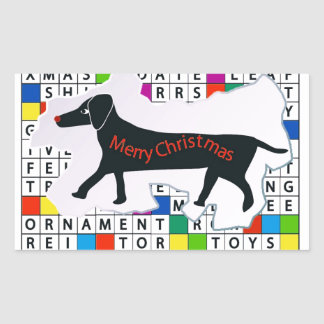 Rectangle Stickers with Crossword Dachshund Xmas