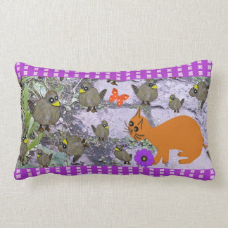 Rectangle Throw Pillow cat birds garden purple