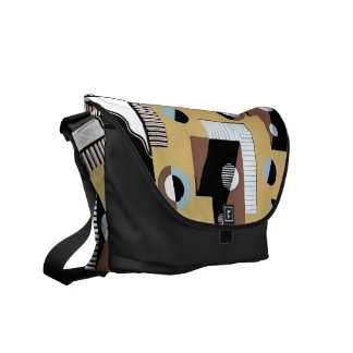 Rectangles Circles and Lines Messenger Bag