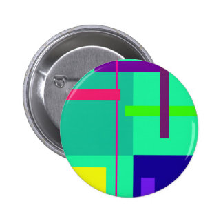 Rectangles Green 2 Inch Round Button