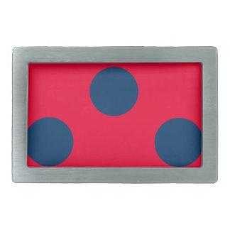Rectangular Belt Buckle - Red & Blue Polka Dots
