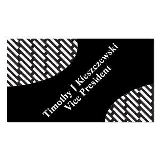 rectangular black & white Diagonal stripe rules Business Card