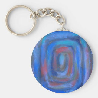 Rectangular Blue Pastel Spiral Keychain