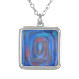 Rectangular Blue Pastel Spiral Silver Plated Necklace