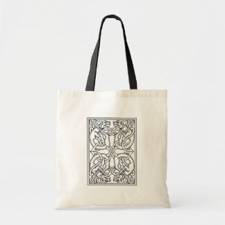 Rectangular celtic pattern black and white budget tote bag