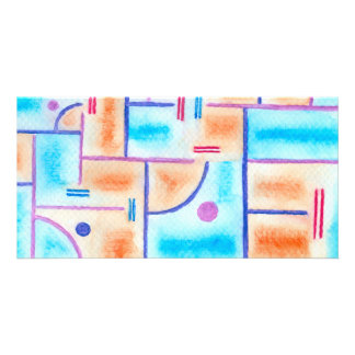 Rectangular Composition in Baby Blue and Orange Card