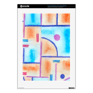 Rectangular Composition in Baby Blue and Orange Decals For PS3