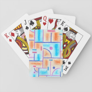 Rectangular Composition in Baby Blue and Orange Playing Cards
