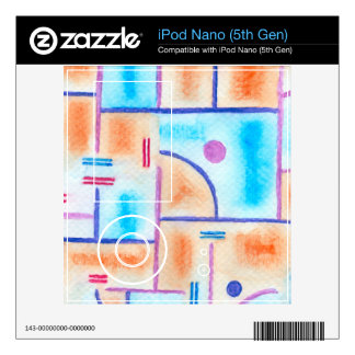Rectangular Composition in Baby Blue and Orange Decal For The iPod Nano