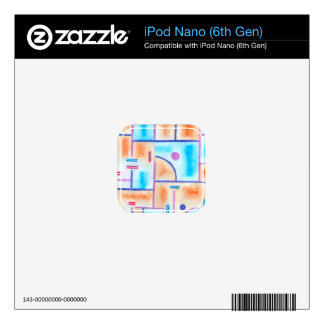 Rectangular Composition in Baby Blue and Orange iPod Nano Decals