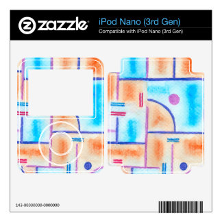 Rectangular Composition in Baby Blue and Orange Decals For iPod Nano
