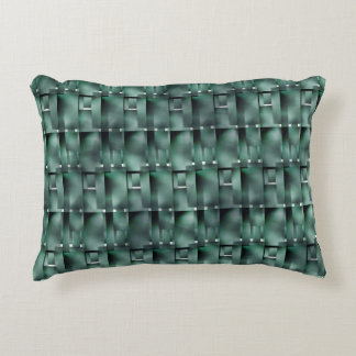Rectangular forms in the green color and dark accent pillow