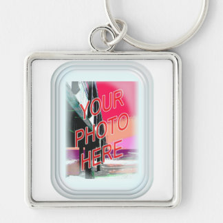 Rectangular Glass Frame Silver-Colored Square Keychain