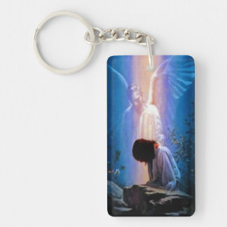 Rectangular Guardian Angel keychain