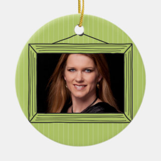 Rectangular handdrawn picture frame Double-Sided ceramic round christmas ornament