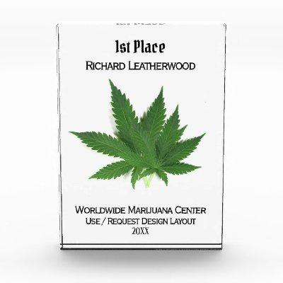 Rectangular Marijuana Trophy Acrylic Award
