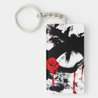 Rectangular (on one side) key supporters abstractl rectangle acrylic key chain