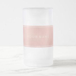 Rectangular Pink Rose Gold Powder Metallic Frosted Glass Beer Mug