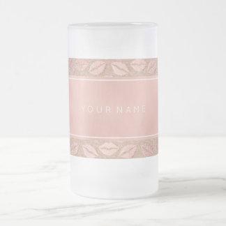 Rectangular Pink Rose Gold Powder Metallic Kiss Frosted Glass Beer Mug