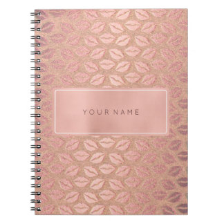 Rectangular Pink Rose Gold Powder Metallic Kiss Spiral Notebook