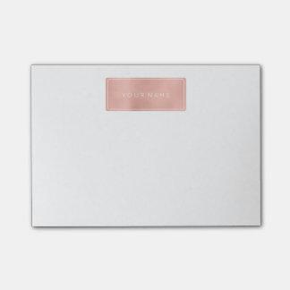 Rectangular Pink Rose Gold Powder Metallic Post-it Notes