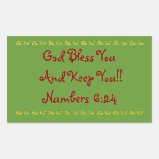 """Rectangular sticker """"God bless You!"""""""
