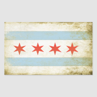 Rectangular Sticker with Distressed Chicago Flag P