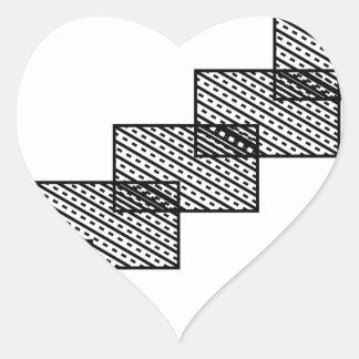 Rectangular stone stairs heart sticker