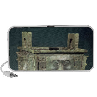 Rectangular 'ting' vessel with human faces travel speakers