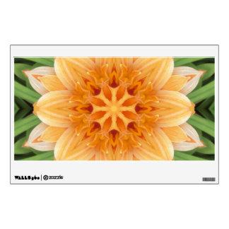 Rectángulo anaranjado y verde de la flor del vinilo decorativo