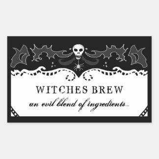 Rectángulo de Halloween negro y etiqueta blanca -