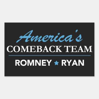 Rectángulo del equipo de la reaparición de Romney Pegatina Rectangular