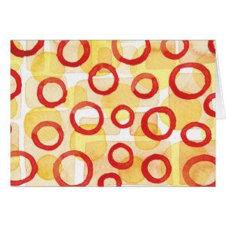 Rectángulos anaranjados con los círculos rojos del tarjeta pequeña