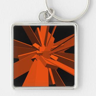 Rectángulos anaranjados llavero cuadrado plateado