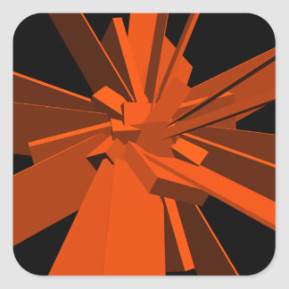 Rectángulos anaranjados pegatina cuadrada