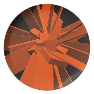 Rectángulos anaranjados plato para fiesta