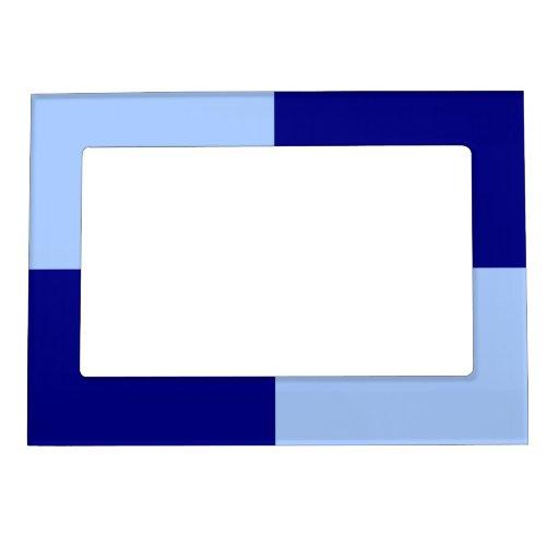 Rectángulos azules claros y azul marino marcos magnéticos para fotos