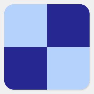 Rectángulos azules claros y azul marino pegatina cuadrada