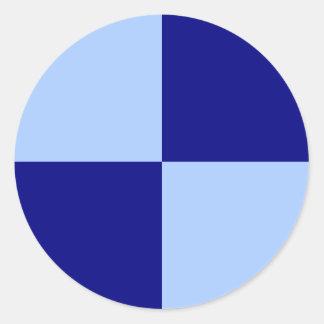 Rectángulos azules claros y azul marino pegatina redonda