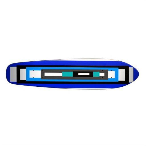 Rectángulos azules y blancos frescos monopatines personalizados