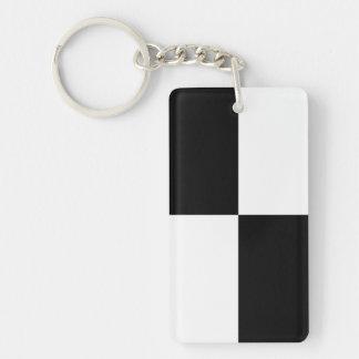 Rectángulos blancos y negros llavero rectangular acrílico a doble cara