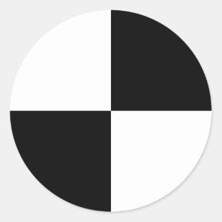 Rectángulos blancos y negros pegatina redonda