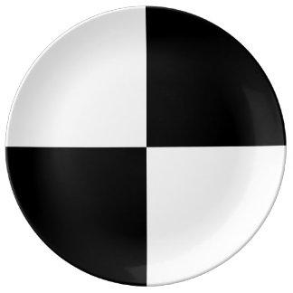 Rectángulos blancos y negros platos de cerámica