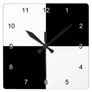 Rectángulos blancos y negros reloj cuadrado