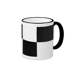 Rectángulos blancos y negros taza de dos colores