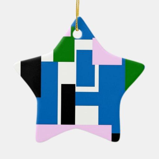 rectángulos coloridos azules adorno de navidad
