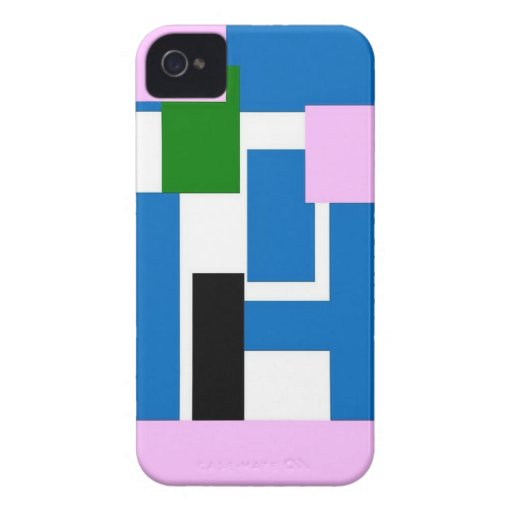 rectángulos coloridos azules iPhone 4 Case-Mate funda