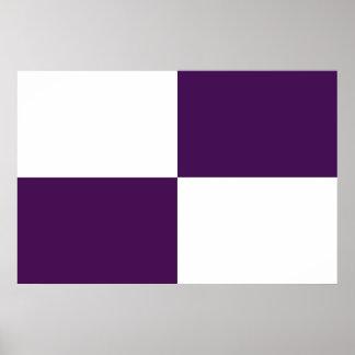 Rectángulos de la púrpura real y del blanco posters