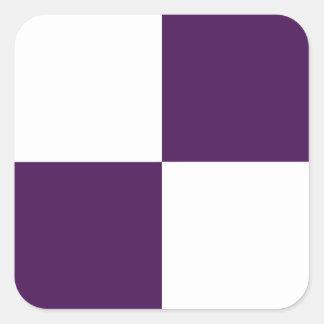 Rectángulos de la púrpura real y del blanco pegatinas cuadradases personalizadas