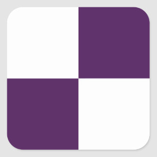 Rectángulos de la púrpura real y del blanco pegatina cuadrada